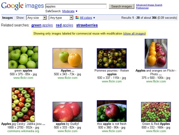 "google creative commons search for ""apples"""